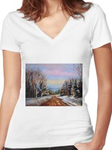PAINTINGS OF CANADA WINTER LANDSCAPES AND SNOWSCENES CANADIAN PAINTINGS Women's Fitted V-Neck T-Shirt