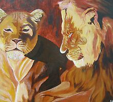 lion and lioness by Samuel Friday