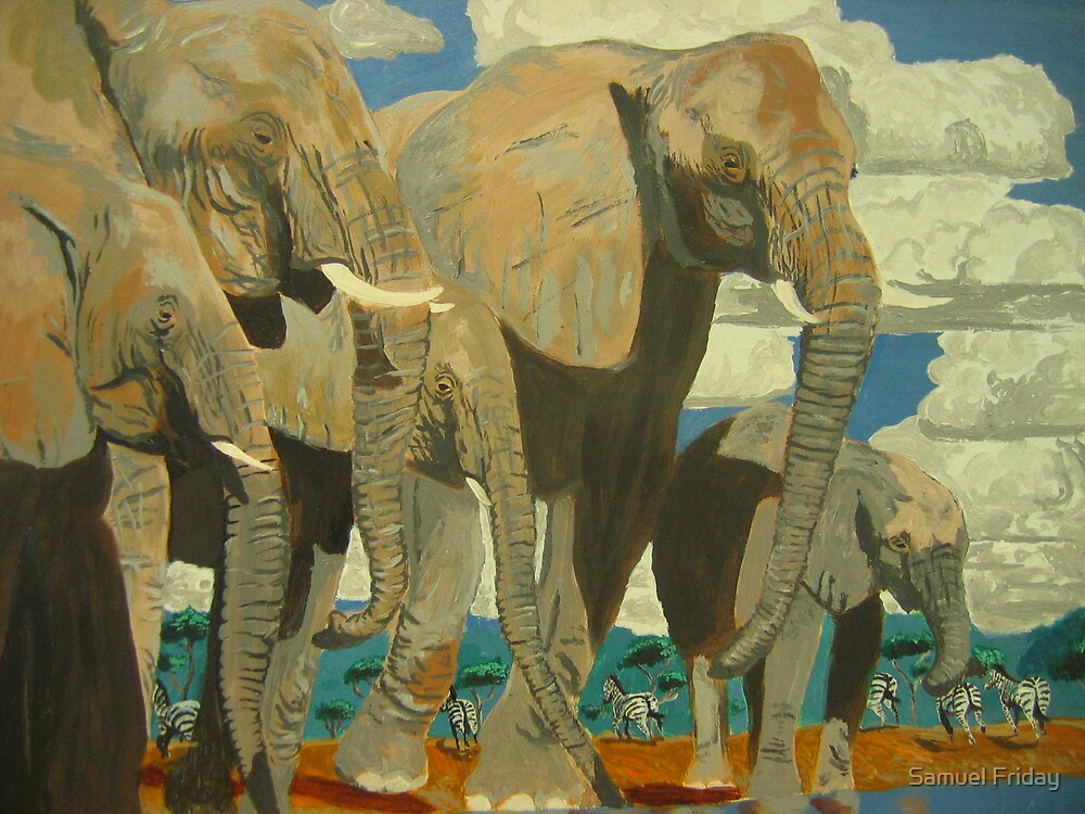 'elephant's by the river' by Samuel Friday