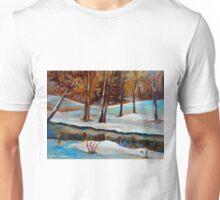 WINTER TREES NEAR RIVER CANADIAN ART CANADIAN PAINTING BY CANADIAN ARTIST CAROLE SPANDAU Unisex T-Shirt