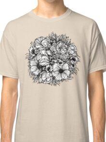 round bouquet of flowers, black graphic contours Classic T-Shirt
