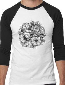 round bouquet of flowers, black graphic contours Men's Baseball ¾ T-Shirt