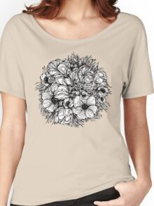 round bouquet of flowers, black graphic contours Women's Relaxed Fit T-Shirt