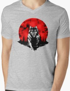 RED HOT MOON - Wolf Mens V-Neck T-Shirt