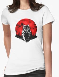 RED HOT MOON - Wolf Womens Fitted T-Shirt