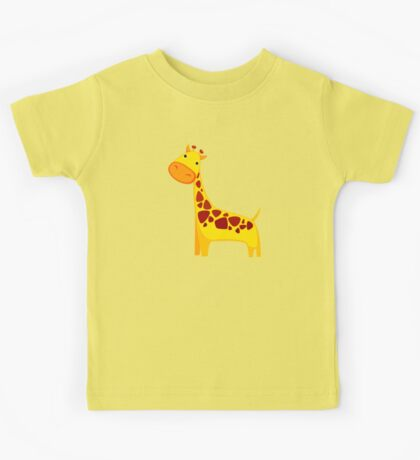 Funny Cartoon Yellow Cute Giraffe Character Doodle Animal Drawing Kids Tee