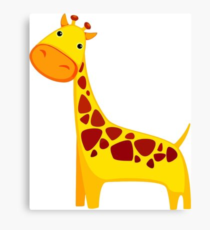 Funny Cartoon Yellow Cute Giraffe Character Doodle Animal Drawing Canvas Print