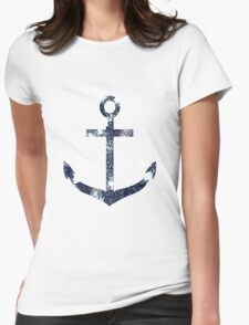 Blue Grunge Nautical Anchor Womens Fitted T-Shirt