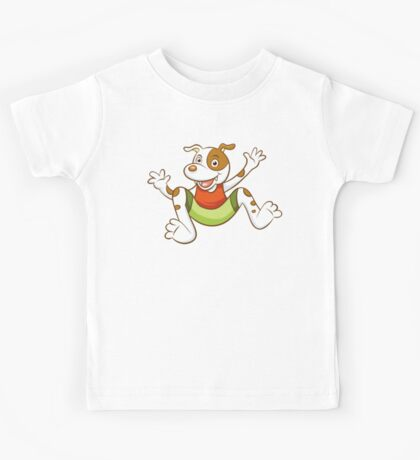Cute Funny Cartoon Silly Jumping Dog Character Doodle Animal Drawing Kids Tee