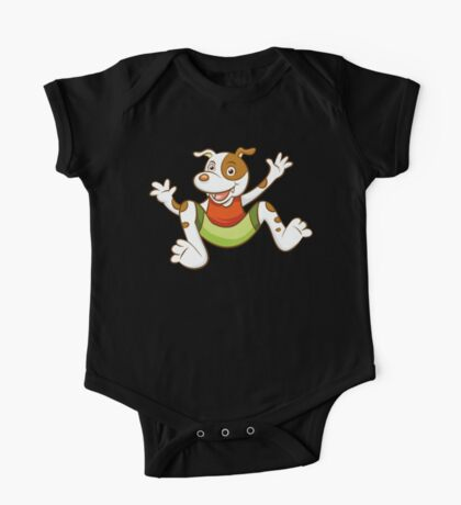 Cute Funny Cartoon Silly Jumping Dog Character Doodle Animal Drawing One Piece - Short Sleeve