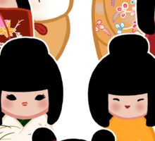 Kokeshi in Autumn Sticker