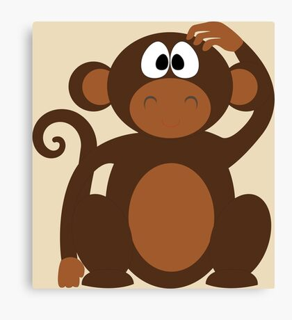 Cute Funny Cartoon Confused Monkey Head Bear Character Doodle Animal Drawing Canvas Print