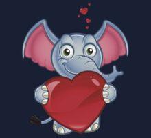 Elephant Holding A Love Heart One Piece - Long Sleeve