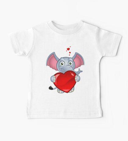 Elephant Holding A Love Heart Baby Tee