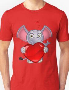 Elephant Holding A Love Heart T-Shirt