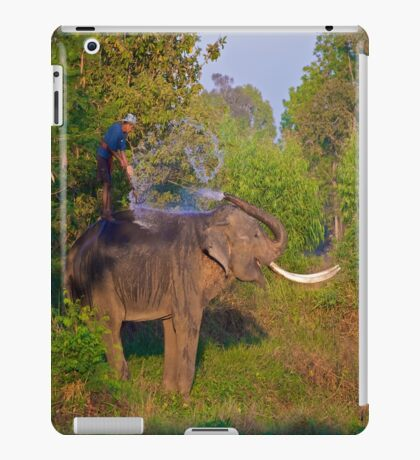 Asian Elephant Shower with Mahout iPad Case/Skin
