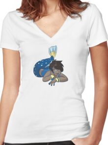 Cute Funny Cartoon MermaidCharacter Doodle Animal Drawing Women's Fitted V-Neck T-Shirt