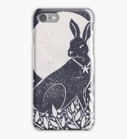 Hare and Moon Lino Print iPhone Case/Skin