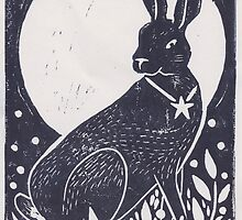 Hare and Moon Lino Print by Hazel Partridge