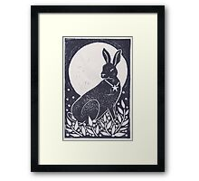 Hare and Moon Lino Print Framed Print
