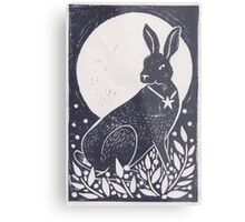 Hare and Moon Lino Print Metal Print