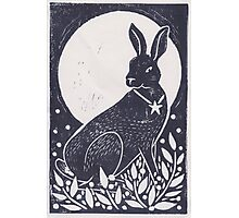 Hare and Moon Lino Print Photographic Print