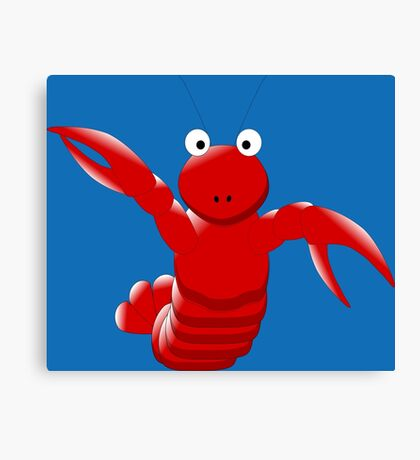 Cute Funny Cartoon Sea Ocean Lobster Character Doodle Animal Drawing Canvas Print