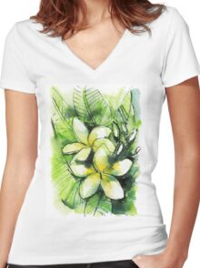 two yellow white plumeria with green leaves Women's Fitted V-Neck T-Shirt