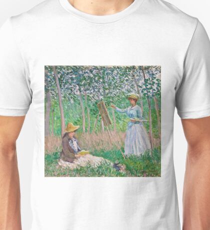 Claude Monet - In The Woods At Giverny Blanche Hoschede At Her Easel With Suzanne Hoschede Reading 1887 Unisex T-Shirt