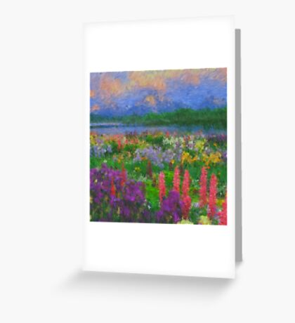 Colorful Impressionist Flower Field Greeting Card