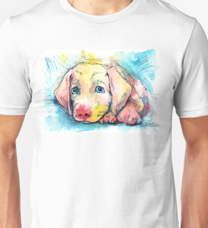 puppy on a blue background, watercolor sketch Unisex T-Shirt