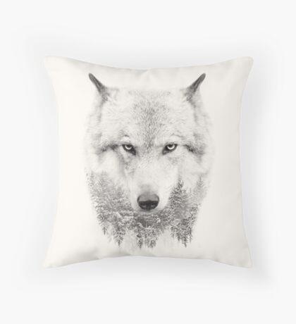 Wild Husky Wolf Winter Scene Throw Pillow