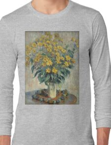 Claude Monet - Jerusalem Artichoke Flowers Long Sleeve T-Shirt