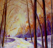 CROSS COUNTRY SKIING CANADIAN WINTER SCENES  by Carole  Spandau