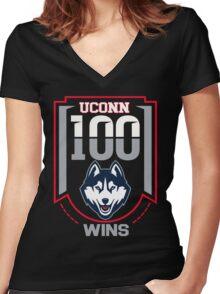 Uconn 100 wins t shirt Women's Fitted V-Neck T-Shirt