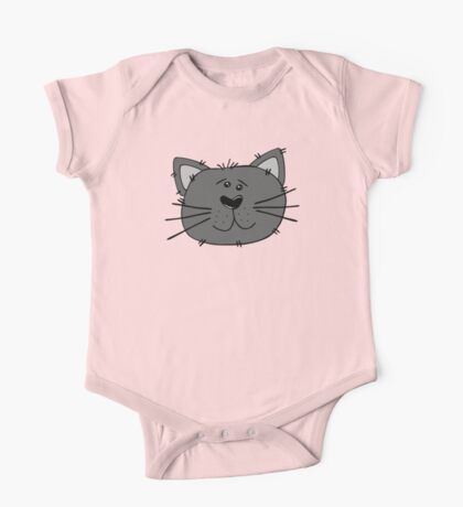 Cute Funny Cartoon Silly Gray Cat Face Character Doodle Animal Drawing One Piece - Short Sleeve
