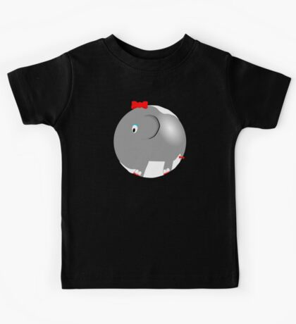 Cute Funny Cartoon Silly Elephant Girl Character Doodle Animal Drawing Kids Tee