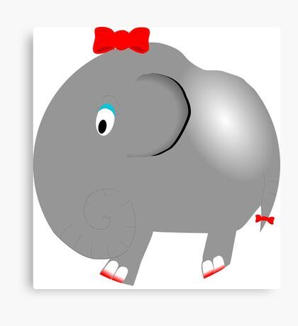 Cute Funny Cartoon Silly Elephant Girl Character Doodle Animal Drawing Canvas Print