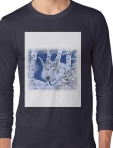 WOLF IN SNOWY BIRCHES IN BLUE Long Sleeve T-Shirt