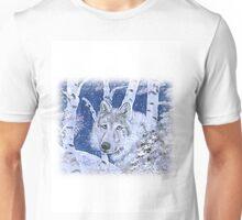 WOLF IN SNOWY BIRCHES IN BLUE Unisex T-Shirt
