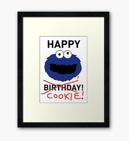 COOKIE MONSTER BIRTHDAY CARD Framed Print