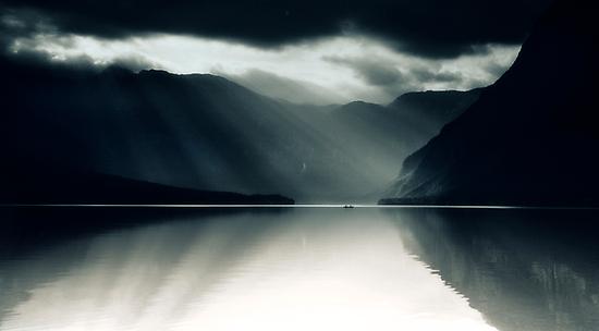 Two In A Boat - Lake Bohinj, Slovenia by melmoth