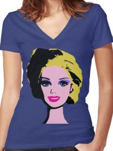 Barbie Monroe Warhol style Women's Fitted V-Neck T-Shirt