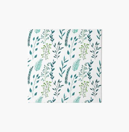 Seamless pattern herbs. Watercolor pattern. Natural. Blue, green. Art Board