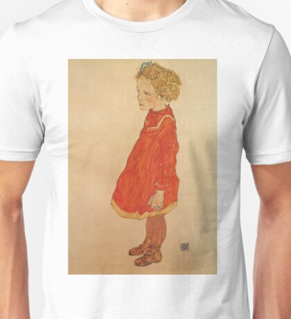 Egon Schiele - Little Girl With Blond Hair In A Red Dress 1916 Unisex T-Shirt