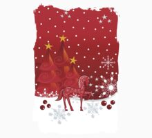 Christmas snow world with trees, snowflakes and a cute decorative horse Kids Clothes