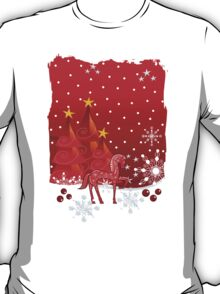Christmas snow world with trees, snowflakes and a cute decorative horse T-Shirt