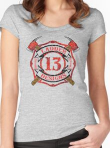 Ladder 13 - Distressed Cross Women's Fitted Scoop T-Shirt