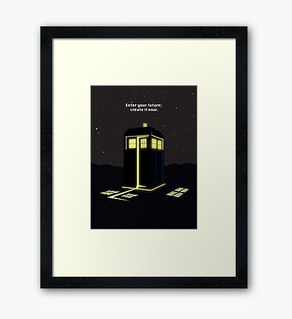 Minimalist quote Enter the future; create it now Framed Print