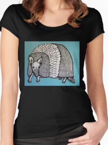 Black & White & Blue Armadillo Women's Fitted Scoop T-Shirt